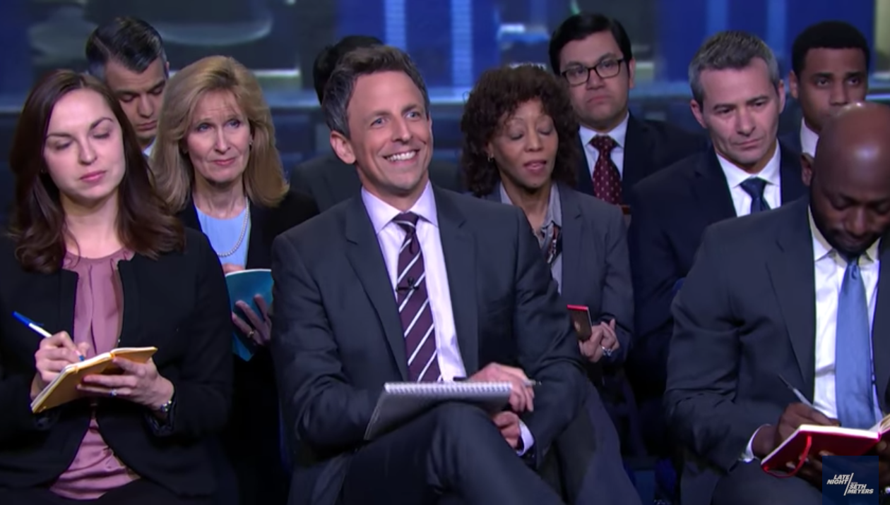 Seth Meyers Holds His Own Press Conference With Sean Spicer