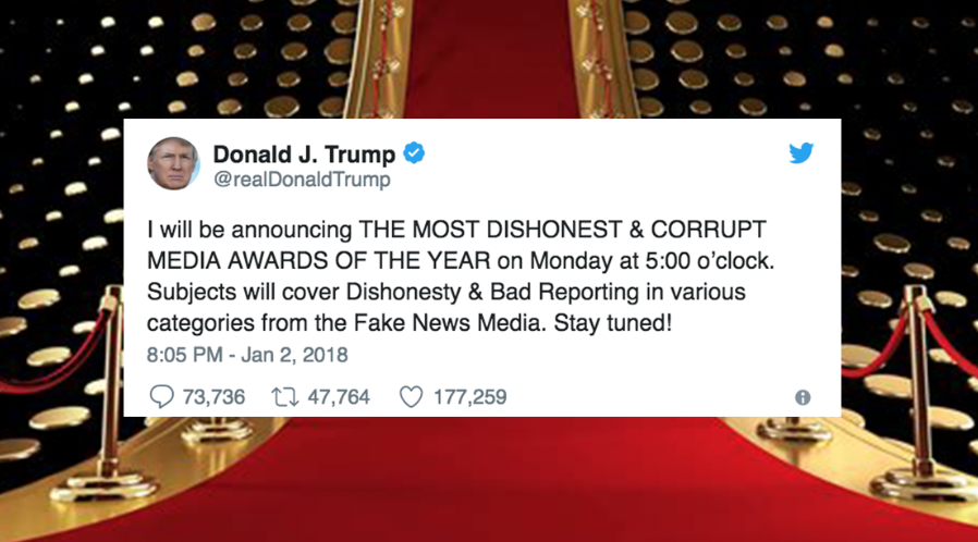 """Real News: Trump Is Hosting A """"Fake News Media Awards Show"""" On Monday. I Think. I Can't Tell If He's Serious. But He Probably Is."""