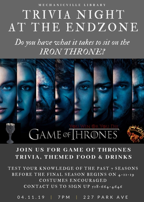 Game of Thrones Trivia Tonight at The End Zone